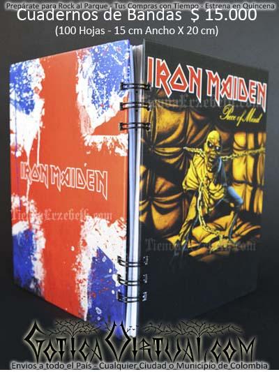 cuaderno libreta argollado iron maiden bandas rock metal envios a todo el pais domicilios tienda online colombia bogota medellin cali barranquilla cartagena pereira manizales cucuta boyaca