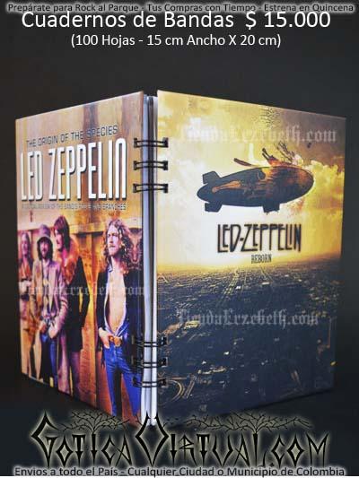 cuaderno libreta argollado led zeppelin bandas rock metal envios a todo el pais domicilios tienda online colombia bogota medellin cali barranquilla cartagena pereira manizales cucuta boyaca