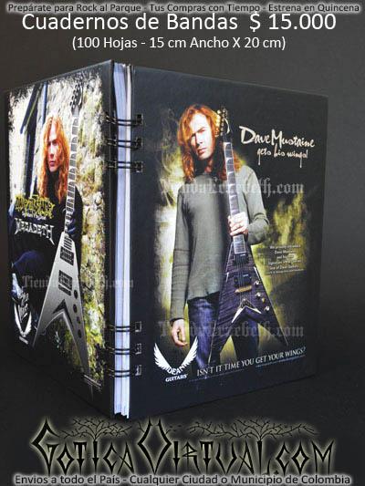 cuaderno libreta argollado megadeth bandas rock metal envios a todo el pais domicilios tienda online colombia bogota medellin cali barranquilla cartagena pereira manizales cucuta boyaca