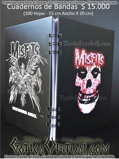 cuaderno libreta argollado misfits bandas rock metal envios a todo el pais domicilios tienda online colombia bogota medellin cali barranquilla cartagena pereira manizales cucuta boyaca