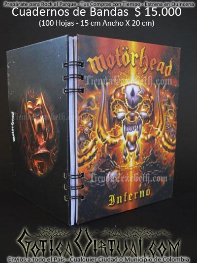 cuaderno libreta argollado motorhead bandas rock metal envios a todo el pais domicilios tienda online colombia bogota medellin cali barranquilla cartagena pereira manizales cucuta boyaca