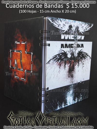 cuaderno libreta argollado rammstein bandas rock metal envios a todo el pais domicilios tienda online colombia bogota medellin cali barranquilla cartagena pereira manizales cucuta boyaca