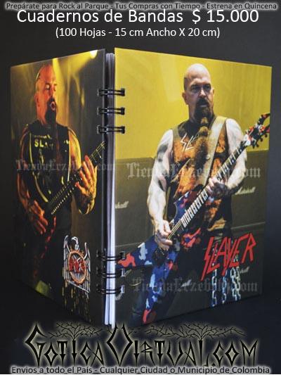 cuaderno libreta argollado slayer bandas rock metal envios a todo el pais domicilios tienda online colombia bogota medellin cali barranquilla cartagena pereira manizales cucuta boyaca