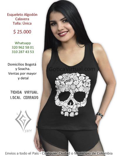 esqueleto calavera negro licrado algodon chica rock metal estampado bonito economico venta online domicilios bogota armenia sincelejo tunja yopal colombia
