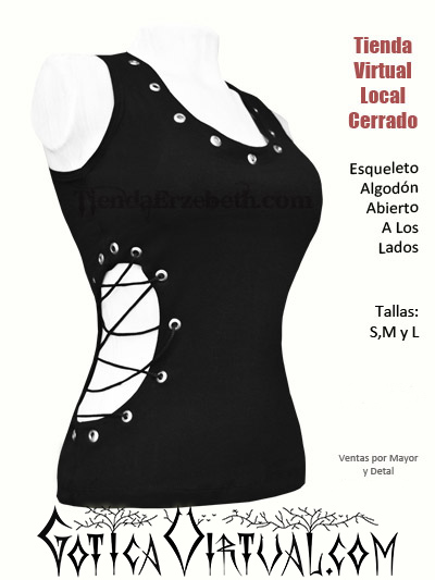 esqueleto algodon ojales negro tienda virtual metal rockera mujer dama femenino escote ropa domicilios bogota cali medellin pereira