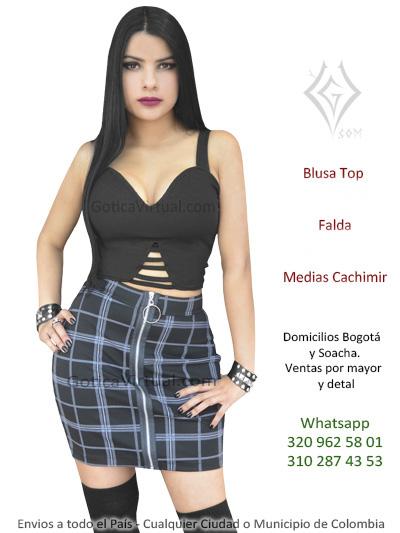 Faldas Metalera Bogota Gotica Rockera Boutique Almacen Envios ... f1a48d32e7a