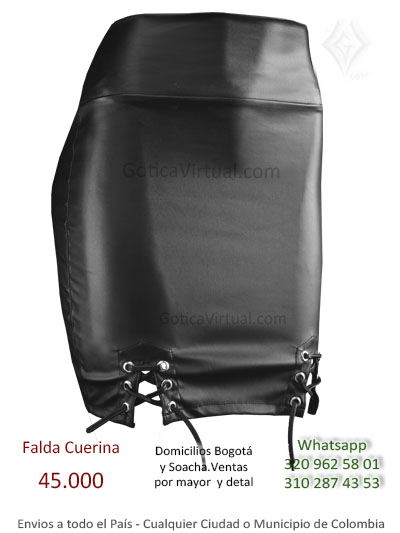 falda cuerina cordones sexy tubo tienda online rock etal femenina economica tienda online venta bogota manizales neiva cucuta santander funza colombia