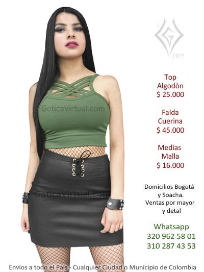 falda cuerina negra rock metalera corta sexy top prendas boutique villavicencio pereira tolima guajira