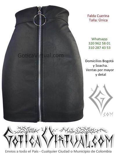 falda cuerina negra rock metal mujer corta tubo lucrada venta online domcilios bogota tunja huila caldas cesar colombia