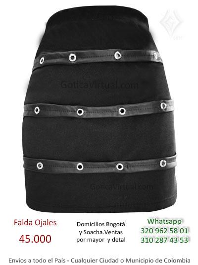 falda drill ojales tienda online rock metal corta sexy bonita cuerina combinada bogota manizales cesar antioquia valle quindio huila colombia