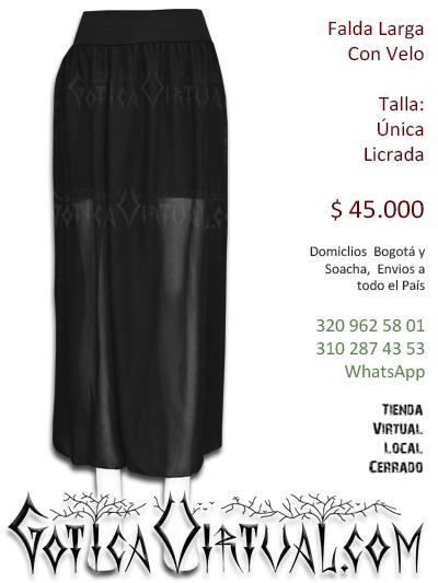 faldas largas en bogota goticas rockeras velo metaleras negras baratas economicas hasta el tobillo talon envios medellin manizales yopal villavicencio