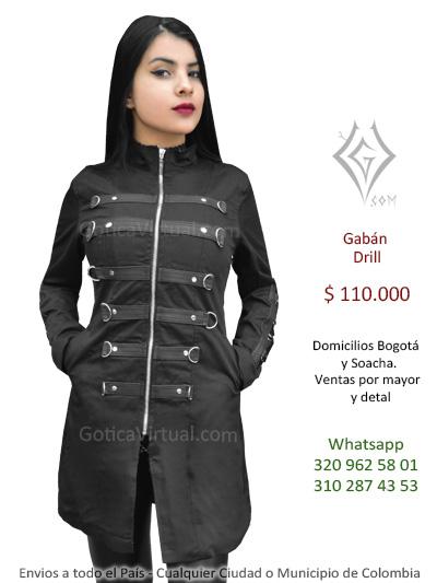 gaban drill femenino abrigo metalero rockero gotico cali medellin neiva cauca leticia zipaquira mayorista bodega colombia