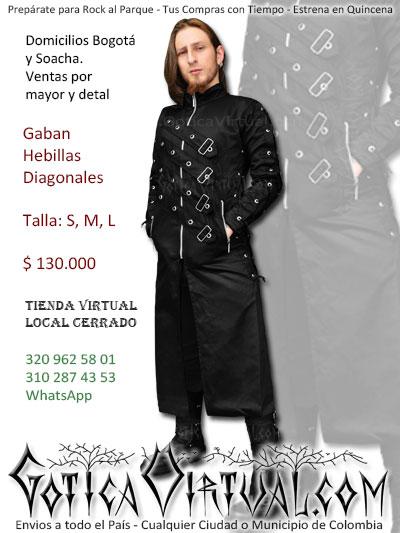 dc8258d3fb40 gaban abrigo hebillas diagonales gotico ropa rock metal hombre tienda  caracas buenos aires mexico panama madrid