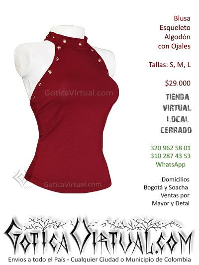 blusa ojales roja algodon sexy bonita rockera tienda online venta domicilios envios bogota huila caldas cauca quindio colombia