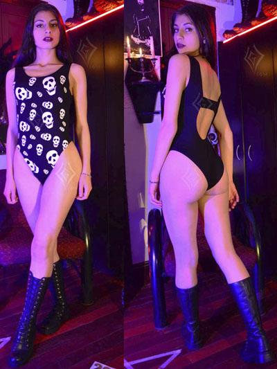 hermoso body negro estampado calaveras sexy mujer economico excelentecalidad rockero metalero ventasonline neiva cucuta arauca choachi chia mosquera usaquen