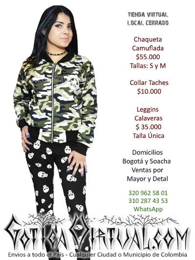chaqueta piloto camuflada femenina tienda online prendas accesorios rock metal boutique bogota manizales santander quindio funza cauca colombia