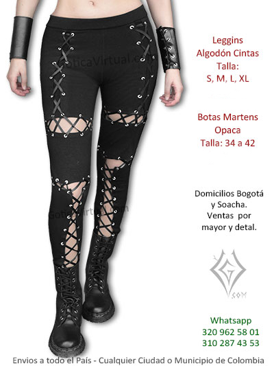 leggins negro cintas ojales frontales descubierto venta online economico rock metal chica bogota huila pereira tunja villeta colombia