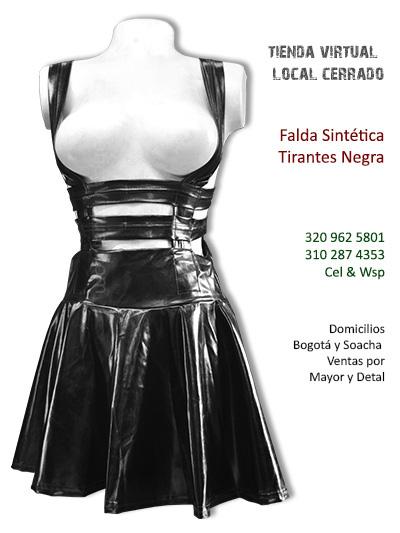 falda sintetica brillante tirantas bonita corta economica tienda online sexy chica boutique rock metal bogota colombia
