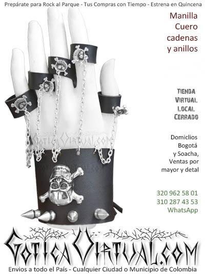 manilla cuero cadenas anillos venta online gotica metalera domicilios bogota soacha envios colombia