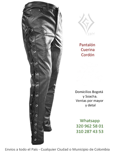 pantalon cuerina cordon masculino cuero rockero metalero excelentecalidad ventas cali medellin manizales medellin