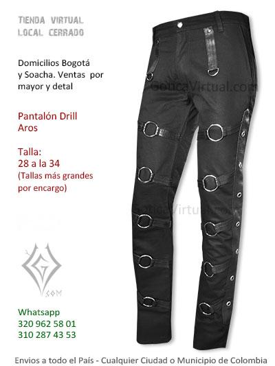 pantalon drill aros negro economico masculino rock metal tienda online domciilios bogota chapiner bosa soacha suba america colombia