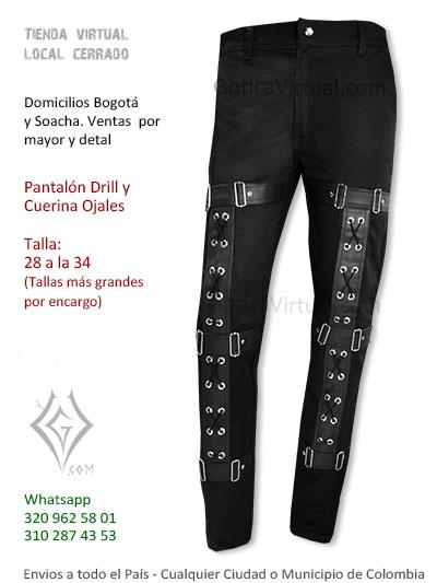pantalon drill aros negro cuerina ojales cordones venta online boutique domcilios bogota sincelejo pereira quindio funza yopal casanare colombia
