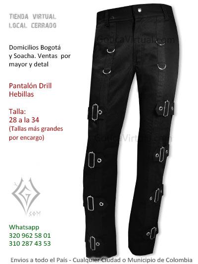 pantalon drill hebillas negro economico venta online domicilios pasto tunja yopal botaca narino leticia calarca cesar colombia