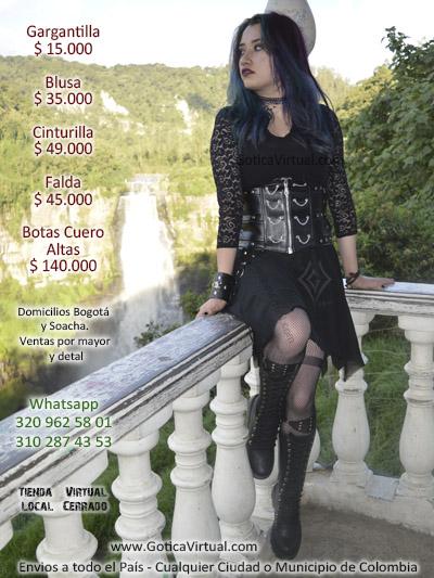ropa gotica bogota colombia blusas cinturillas manillas pulseras cuero faldas medias botas dark clan rockeros metaleros tienda store soacha venecia medellin restrepo