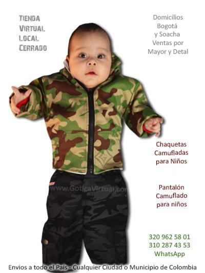 chaqueta pantalon camuflado bebe nino heavy metal rock envios domicilios bogota cali barranquilla santa marta ibague santander