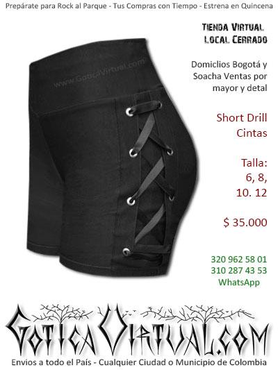 short drill cintas laterales bonito sexy corto tienda online rock metal boutique bogota armenia pasto mosquera tunja cucuta colombia