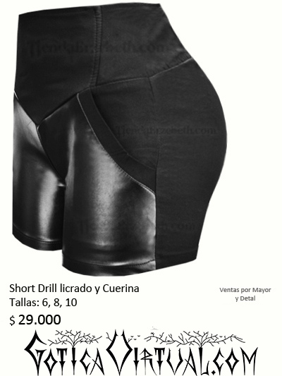 shorts bogota cuerina negro drill licrado ajustado pantaloneta rockero diseno tienda almacen medellin cali pasto pereira bucaramanga envigado