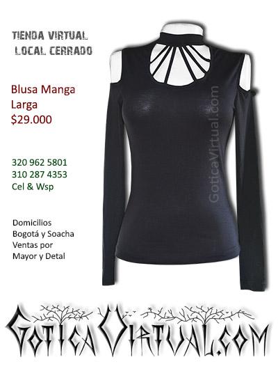 blusa manga larga negra algodon licrada tiras cuello escote bogota cali santander mosquera monteria colombia