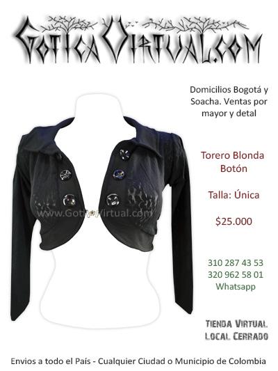 torero blonda sexy bonito economico femenino venta online rock metal bogota medellin antioquia caldas valle tunja cucuta colombai
