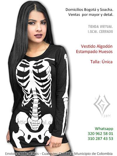 vestido algodon huesos disfraz parca sexy envios cali cesar valle medellin armenia mosquera girardot pereira caldas colombia