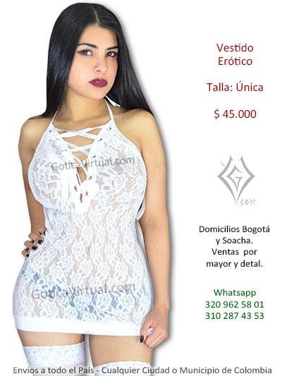 vestido blanco blonda erotico sexy chica lenceria venta online envios domicilios bogota bosa alameda quirigua cortijo suba usme soacha colombia