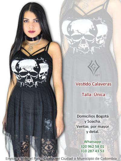 vestido corto licrado venta online gotico calaveras negro venta online boutique rock metal bogota soacha usme americas usaquen tunal