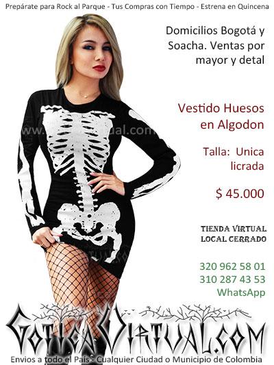 vestido huesos estamapados algodon  envios online bogota armenia valle meta pasto villavicencio tunja colombia