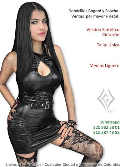 vestido licrado corto negro sintetico cinturon correa cintura envios cali valle tunja colombia