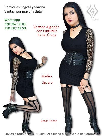 vestido algodon cinturilla negro economico taches bonito sexy rockera metalera bogota