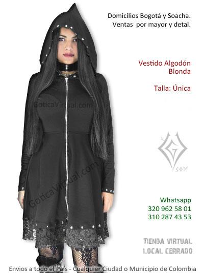 vestido algodon blonda bonito capota grande bruja sexy chica economico bonito venta bogota colombia