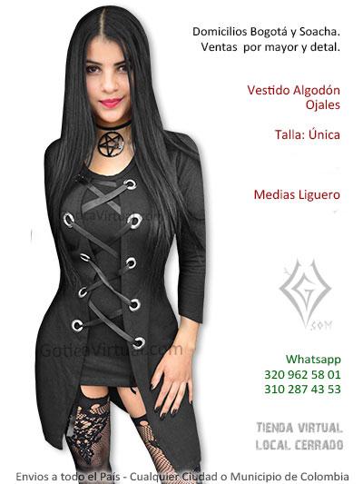 vestido negro ojales algodon licrado economico bonito venta tienda online rock metal domicilios bogota colombia