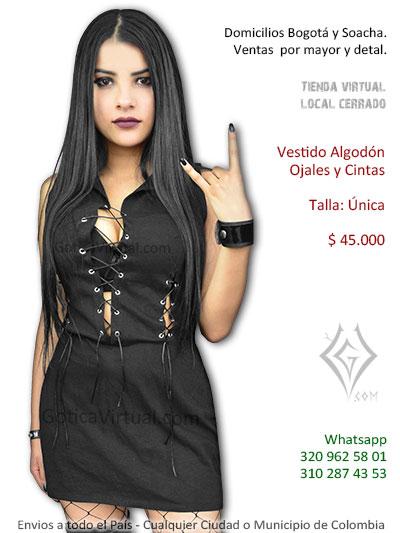 vestido ojales cintas negro algodon venta online economico bonito pasto cesar valle sincelejo narino tunja pasto bolivar colombia