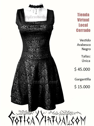 vestido oscuro arabescos gotico textura corto semi escote gargantilla negro cali cartagena santander bogota envios