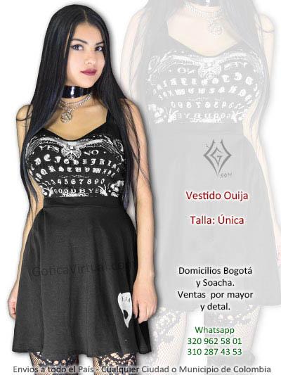 vestido oiuija guija negro bonito estampado economico rock metal gotico venta online envios bogota medellin caldas huila pasto bolivar colombia