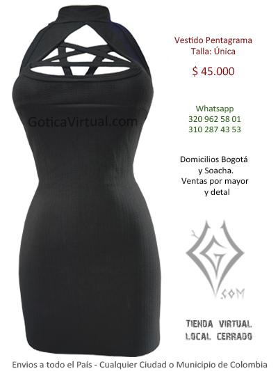 vestido pentagrama liso algodon venta online chicas rokeras metaleras bogota quindio funza zipaquira chia colombia