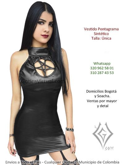 vestido sintetico negro pentagrama escote venta online domicilios bogota cali armenia monteria colombia