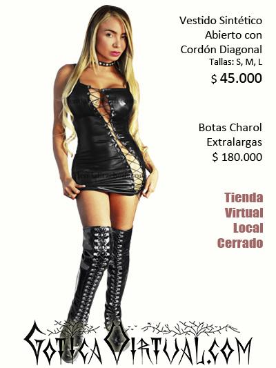 vestido sex shop bogota lenceria femenina dama mujer sexy pvc latex lame sintetico imitacion cuerina negro brillante abierto