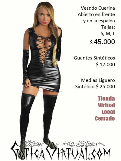 Vestido sintetico cuerina abierto pecho sexy erotico tienda online domicilios envios bogota colombia