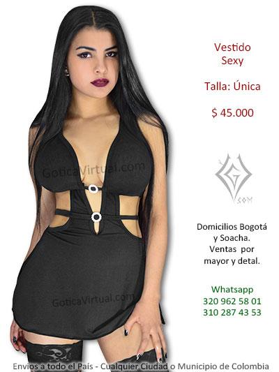 vestido sexy erotico economico negro aro escote licado fantaisas juegos venta online rock metal bogota yopal sincelejo armenia colombia