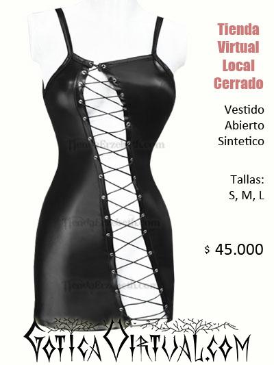 vestido sintetico licrado abierto sex shop cuero cuerina ropa gotica metalera rockera domicilios bogota medellin cali manizales